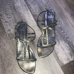 Stuart Weitzman Metallic Silver Sandal 9 N